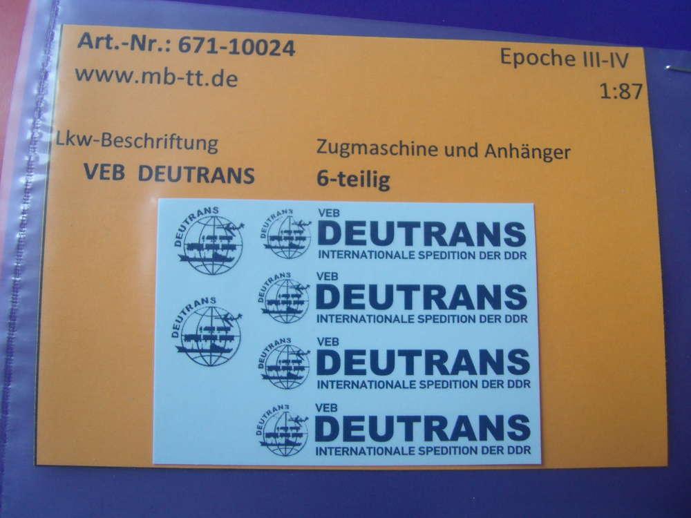 """Lkw-Zugmaschine+Anhänger Nassschiebebilder 6 tlg N /""""VEB DEUTRANS/"""""""
